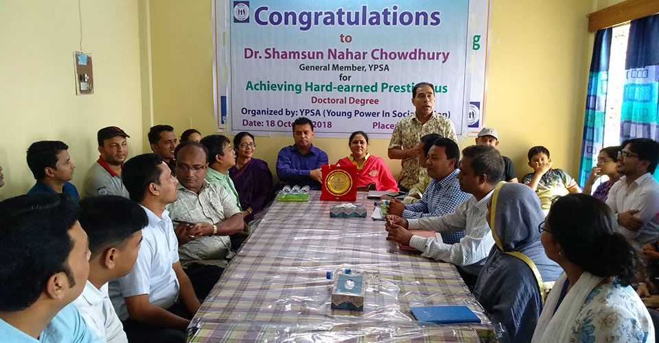 A heartfelt gratitude to Dr. Shamsun Nahar Chowdhury for achieving PhD