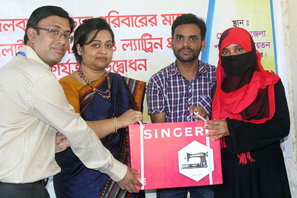 YPSA distributes sewing machine to a climate displaced woman