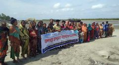 Community Team members organized human chain for protection of Kutubdia from coastal erosion