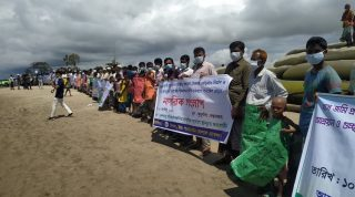 Human chain demanding sustainable embankment for their existence at Banskhali and Kutubdia upazila