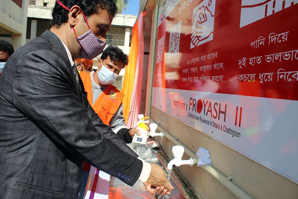Hand washing corner set up by YPSA