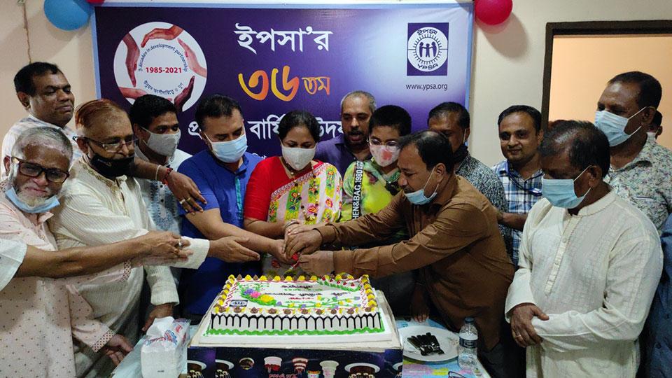 Cutting anniversary cake